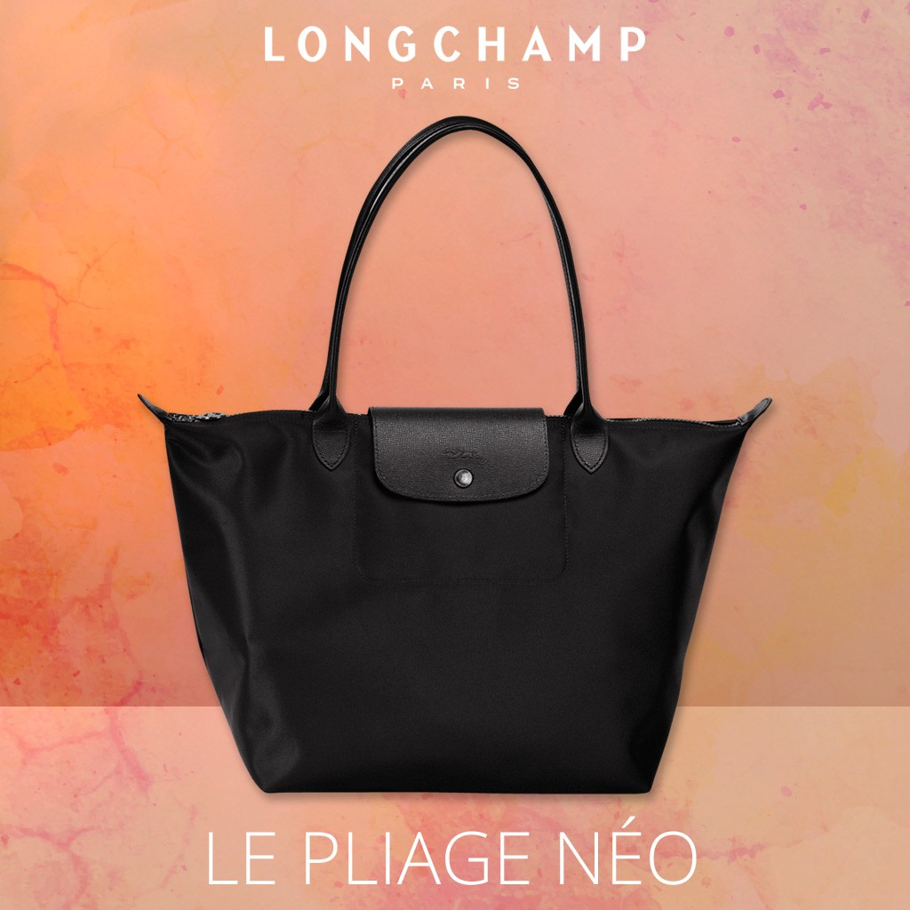 Longchamp Le Pliage Neo tote medium size 2605 black  cb54ce3ab2584