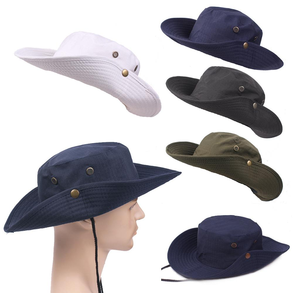 162ab2184ea91 Mens Fishing Hunting Bucket Hat Boonie Military Outdoor Wide Brim Solid Sun  Cap