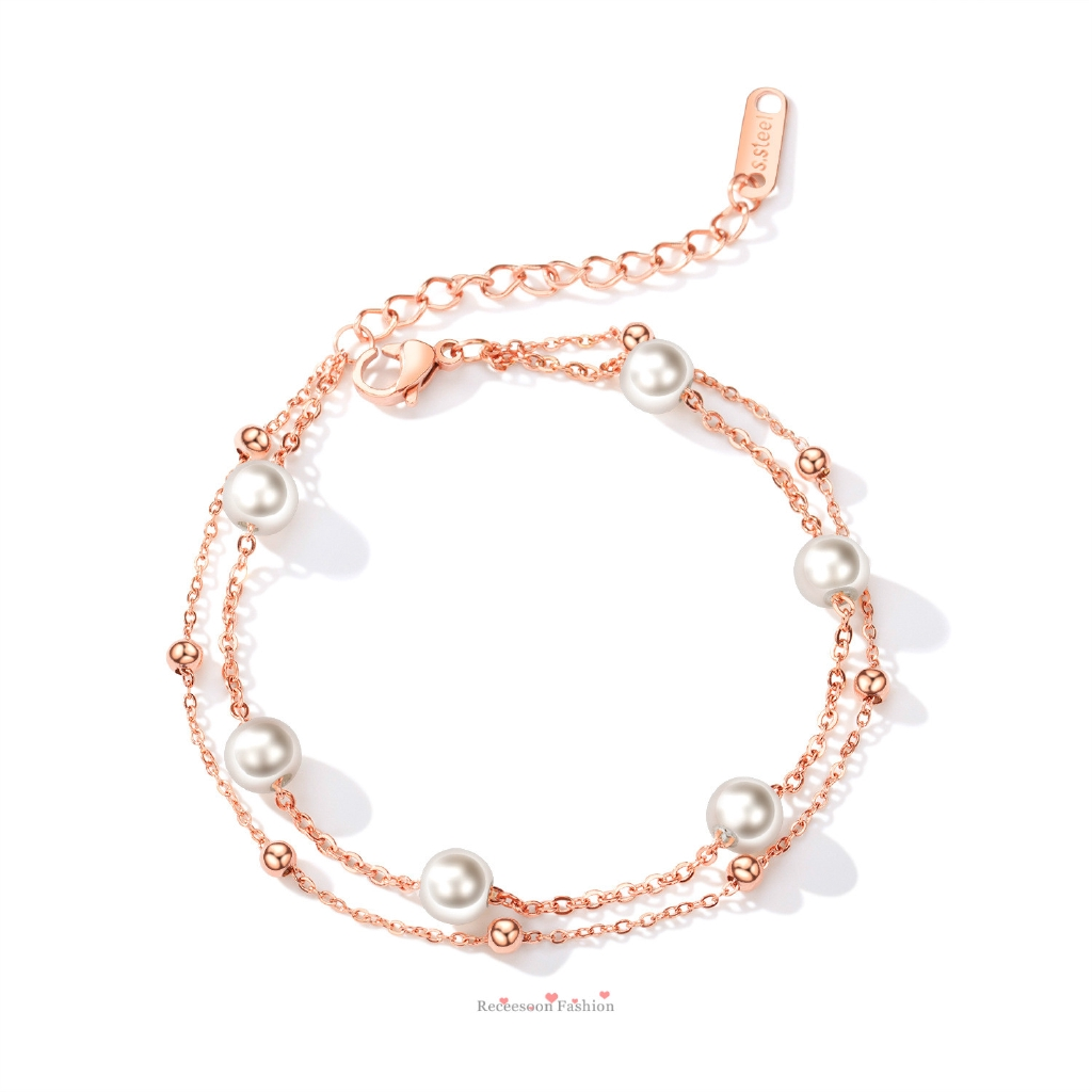Pearl Bracelet Double Layer Bangles Fashion Rose Gold Jewelry