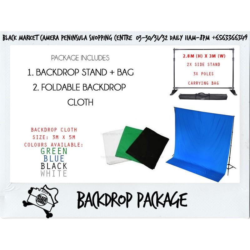 BMC] Cloth Backdrop 6x3m (Black/White/Grey/Green/Blue