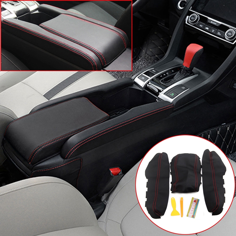 Yuhuan Black Leather Center Console Armrest Lid Cover For Bmw E46