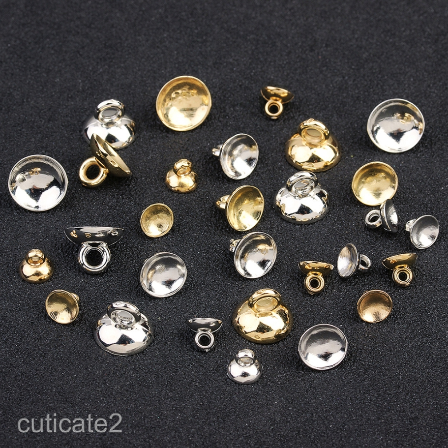 200 Pieces Plastic Bell Shape End Caps Beads Caps Ball Charms Pendants Findings with Loop Silver