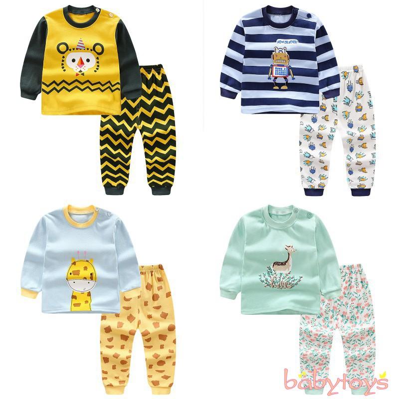 2pcs Infant Boys Pajama Kids Cartoon Tops +Pants Sleepwear Nightwear  Pyjamas Set   Shopee Singapore