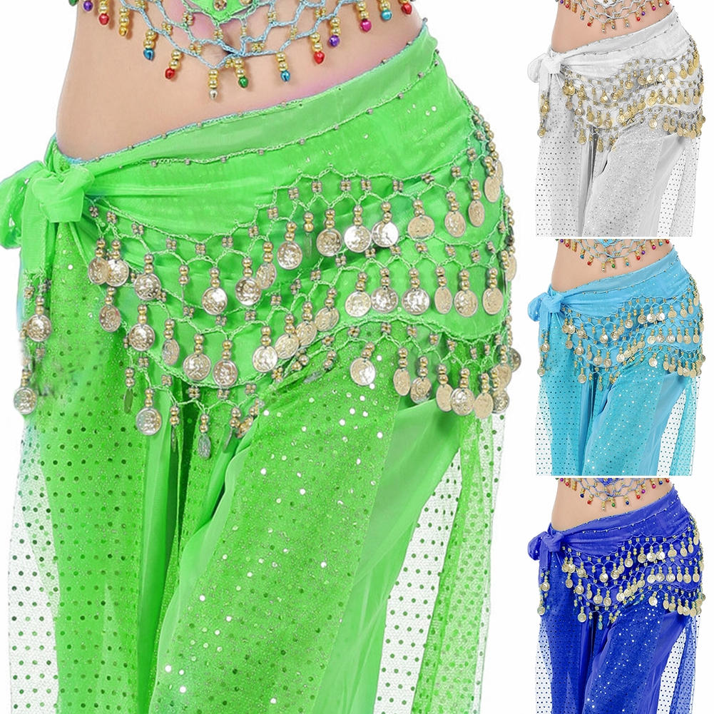 Lady Belly Dance Gold Coin 3Rows Belt Hip Scarf Skirt Wrap Chain Dancing Costume