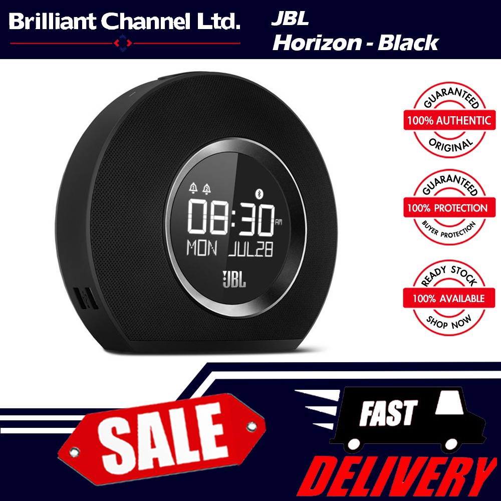 JBL Horizon Bluetooth Clock Speaker with USB Charging and Ambient Light -  Black