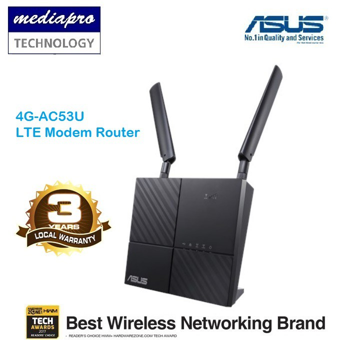 ASUS 4G-AC53U 4G 300MBPS LTE CAT 6 AC750 Wi-Fi Modem Router Local Asus  Warranty