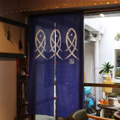Cotton Linen Japanese Noren Doorway Curtain Printed Wall