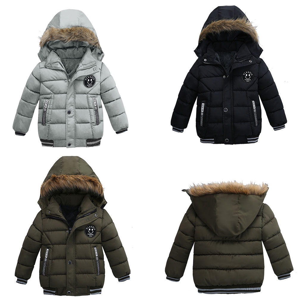 Kids Baby Girl Boy Winter Solid Coat Jacket Fleece Thick Warm Outerwear Clothes