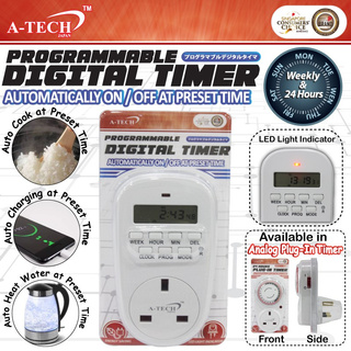 ☆ A-TECH™☆Programmable Digital Timer☆24 Hours Plug-In