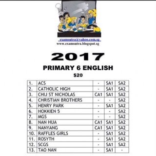 Hardcopy> Primary 6 2017 Top School Exam Papers | Shopee