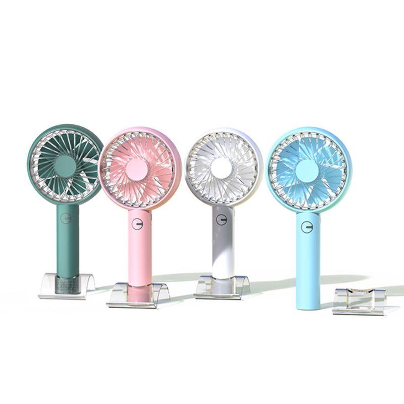 Color : Light Blue Mini Portable Cooling Fan Summer Mini USB Fan Handheld Charging Fan Mobile Phone Holder Night Light Hot Weather