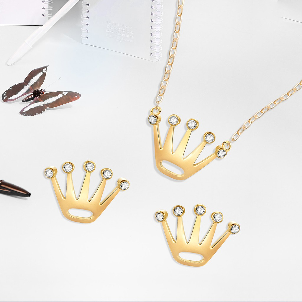 f7a8f68a35d0a LILY 1 Set Earrings Necklace Women Jewelry Golden Crown Pendant Bride  Wedding