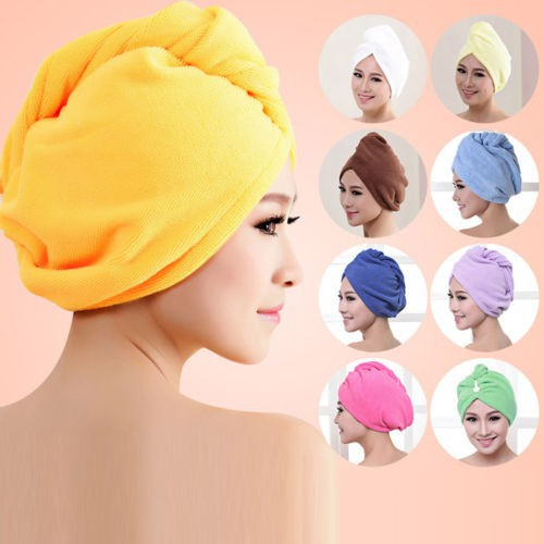 Women Hair Quick Drying Microfiber Towel Turban Cute Twist Loop Wrap Hat Cap UK