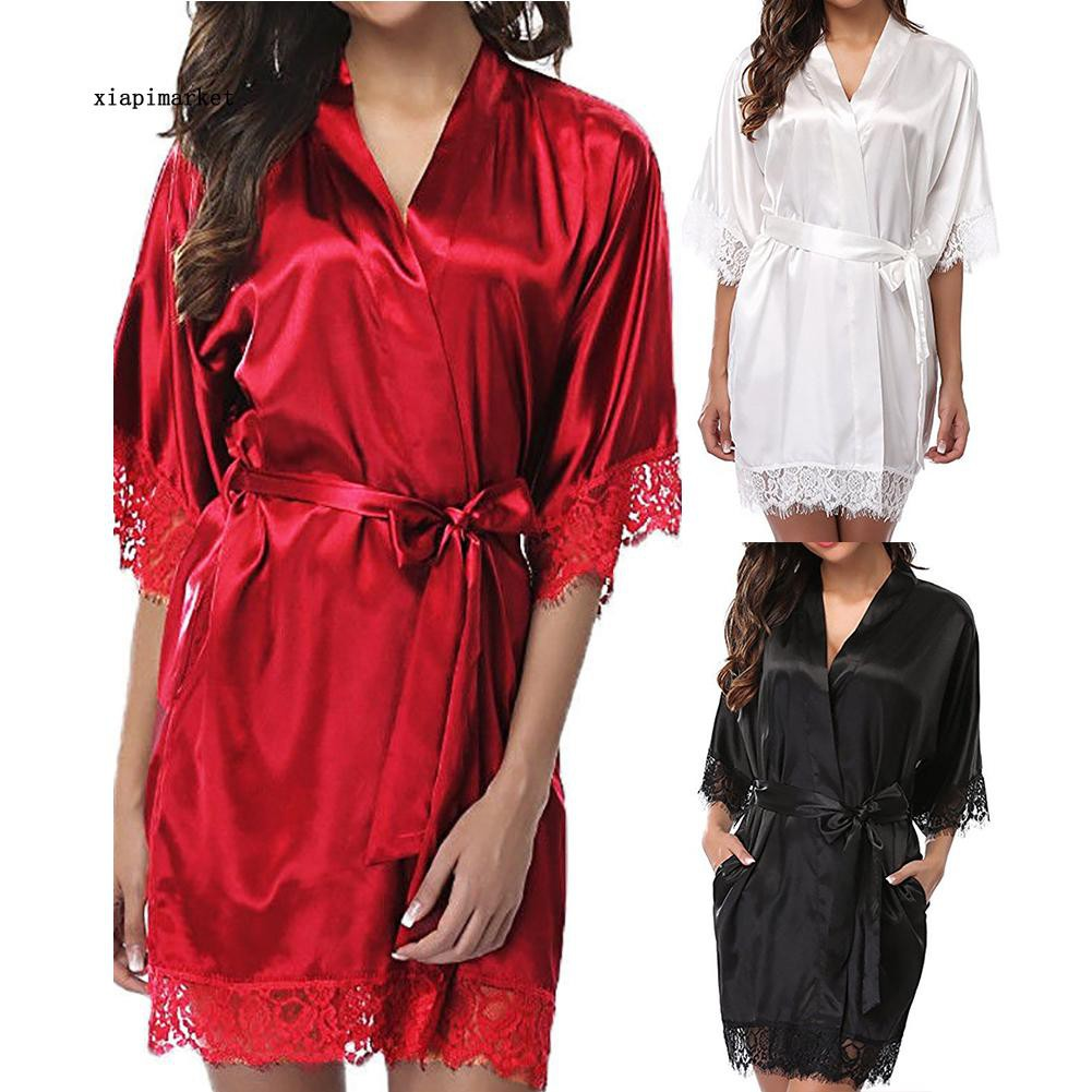 iQKA Short Robe Womens Plus Size Stripe Printed V Neck Soft Robe Satin Bathrobe 2019 Fashion Sleepwear Pajamas