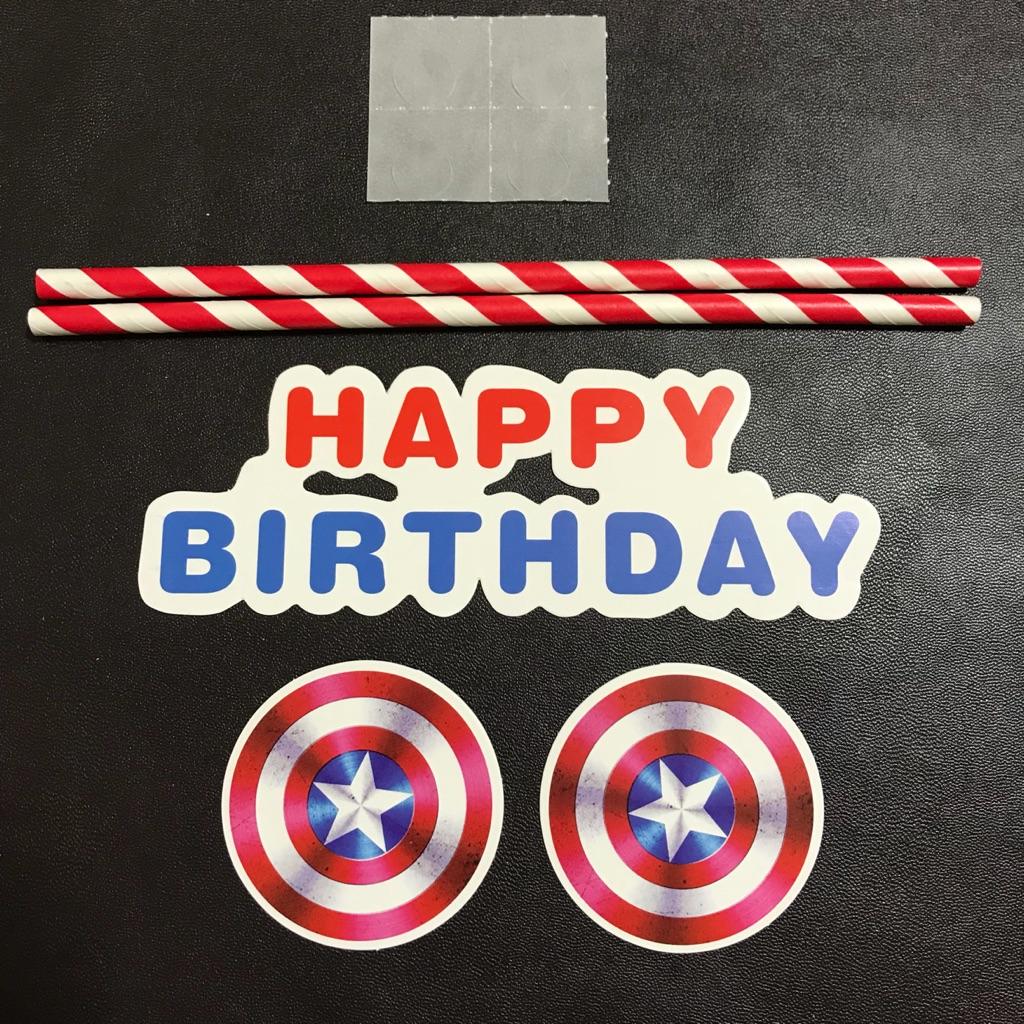Prime Captain America Blue Red Happy Birthday Cake Topper Flag Funny Birthday Cards Online Alyptdamsfinfo