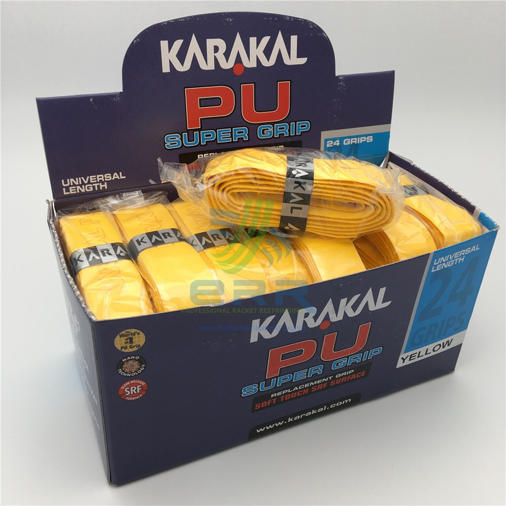Karakal PU Super Grip Non Slip Tacky SRF Replacement Racket Grip Tennis Box of 24