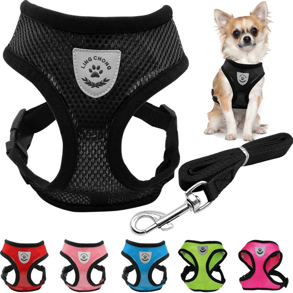 Breathable Mesh Small Dog Pet Harness and Leash Set Puppy Vest Adjustable  Chest Strap