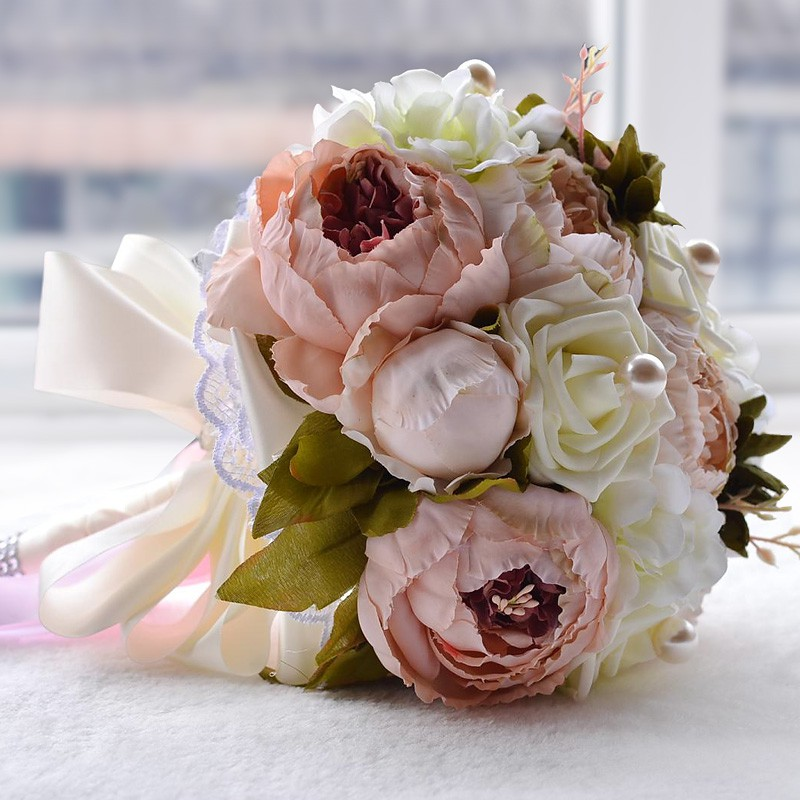 Wedding Bouquets Fake Rose Peony W Pearl Bridal Hand Holding Bouquet Flowers Shopee Singapore