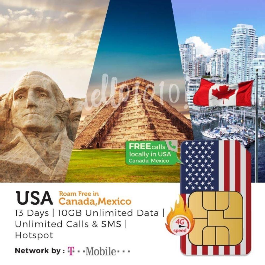 Usa Canada Mexico Travel Prepaid Sim Card Shopee Singapore