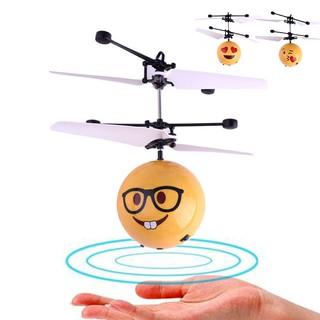 Boys Girls Kids Toy Creative Mini Emoji Shape Flying Ball Light Led