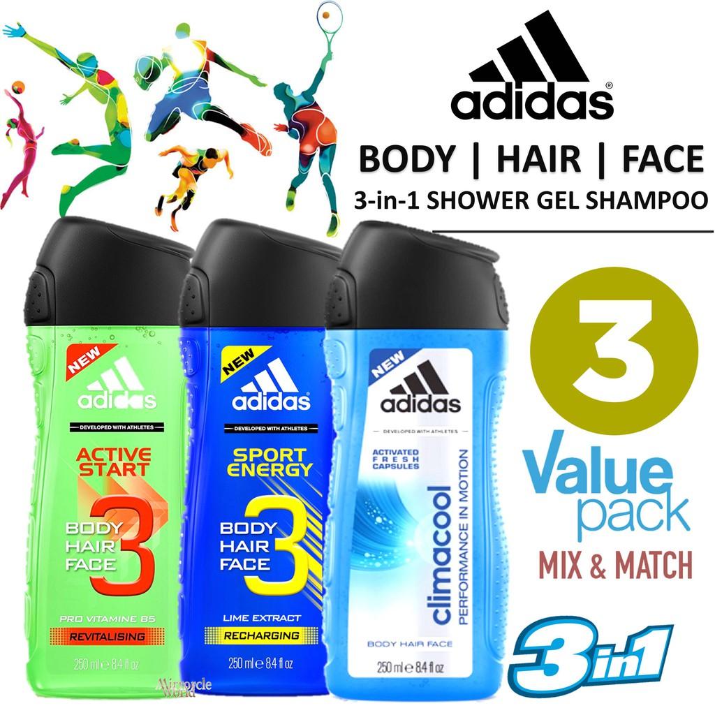 Adidas 3 In 1 Shower Gel Shampoo Bundle Of 3x250ml Shopee Singapore Body Hair Face Guaiac Wood Pure Game 250ml