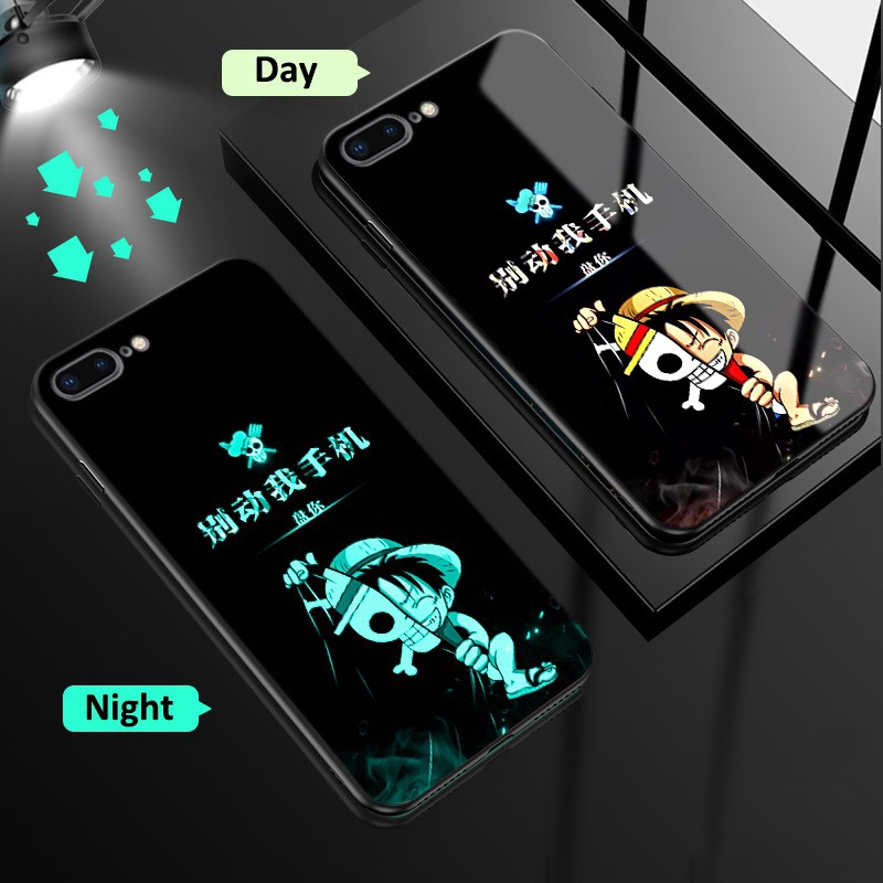 Luffy Night Glowing ONE PIECE iPhone Case iPhone 7 Plus iPhone 7 iPhone 8 Plus iPhone 8 Luminous Creative Hard Covers