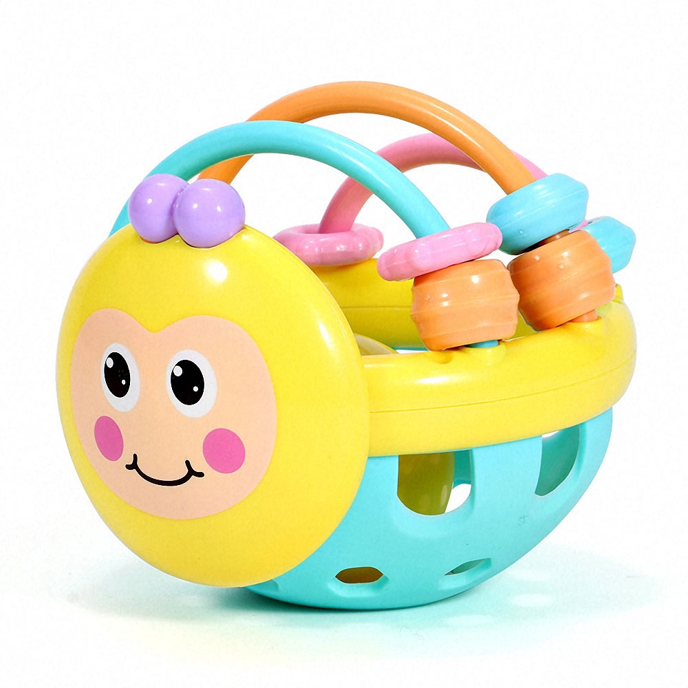 Soft Cartoon Rattle Bee Hand Knocking Dumbbell Baby Early Educational Toys Kids