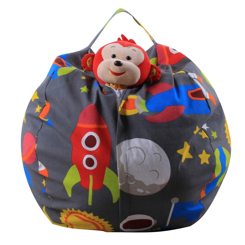 Home Storage & Organization Extra Large Filled Animal Storage Beanbag Chair Toy Organizer Ball Shape With Handle blue F, Size: 18 Inch Bags & Baskets