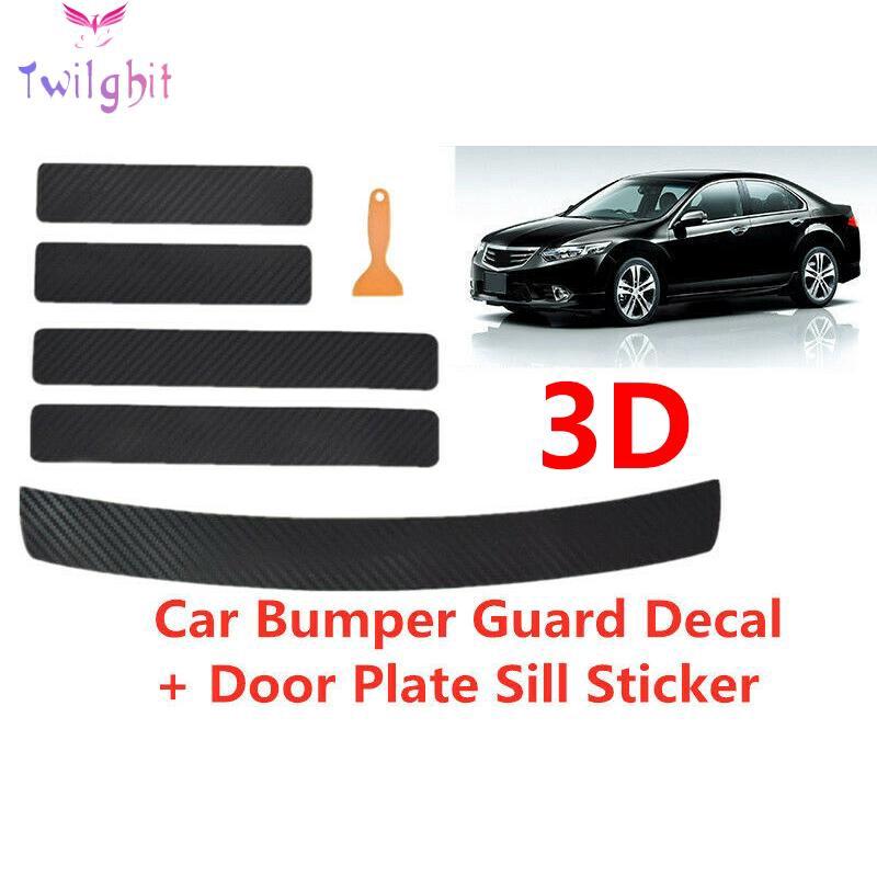 4D Carbon Fiber Black Car Auto Rear Bumper Trunk Tail Lip Protect Decal Sticker.