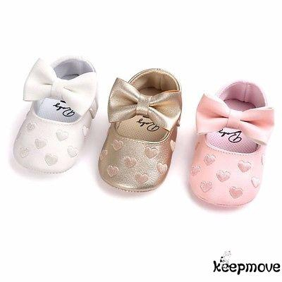 Toddler Baby Girl Solid Bowknot Crib Shoes Newborn Soft Sole Anti-slip Prewalker