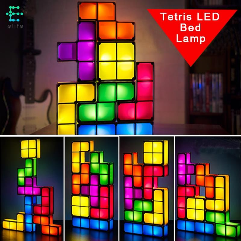 Tetris Retro Desk Led Constructible Lamp Diy Blocks Game Stackable 6ygb7fYv