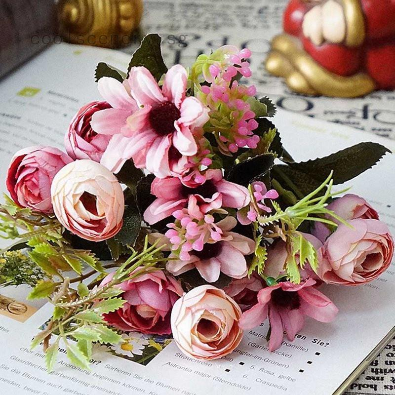 1 Bunch Vintage Pretty Diy Bridal Bouquet Artificial Silk Fake Flowers Leaf Floral Wedding Home Ornament