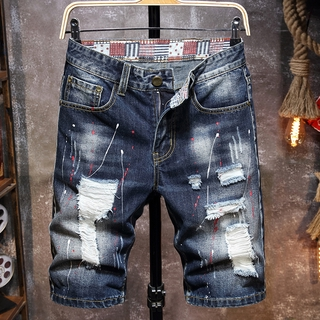 Men/'s red and blue art stitching original DSQ personality new jeans