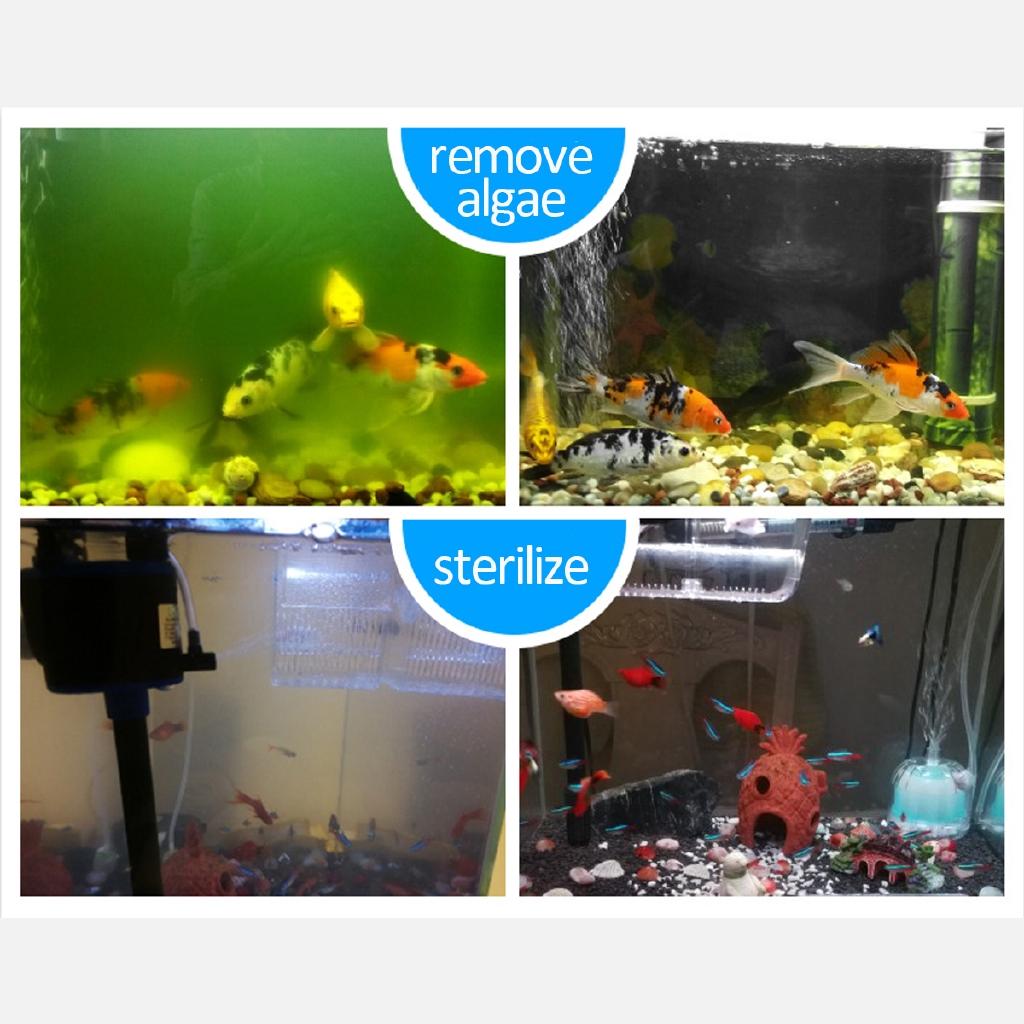 Aquarium Lights 110 220v Aquarium Submersible Uv Light 5 7 9 11 13w Fish Tank Water Clean Green Algae Clear Waterproof Clean Lamp Fit For Pond Fish Tank Sump Pump Pet Supplies