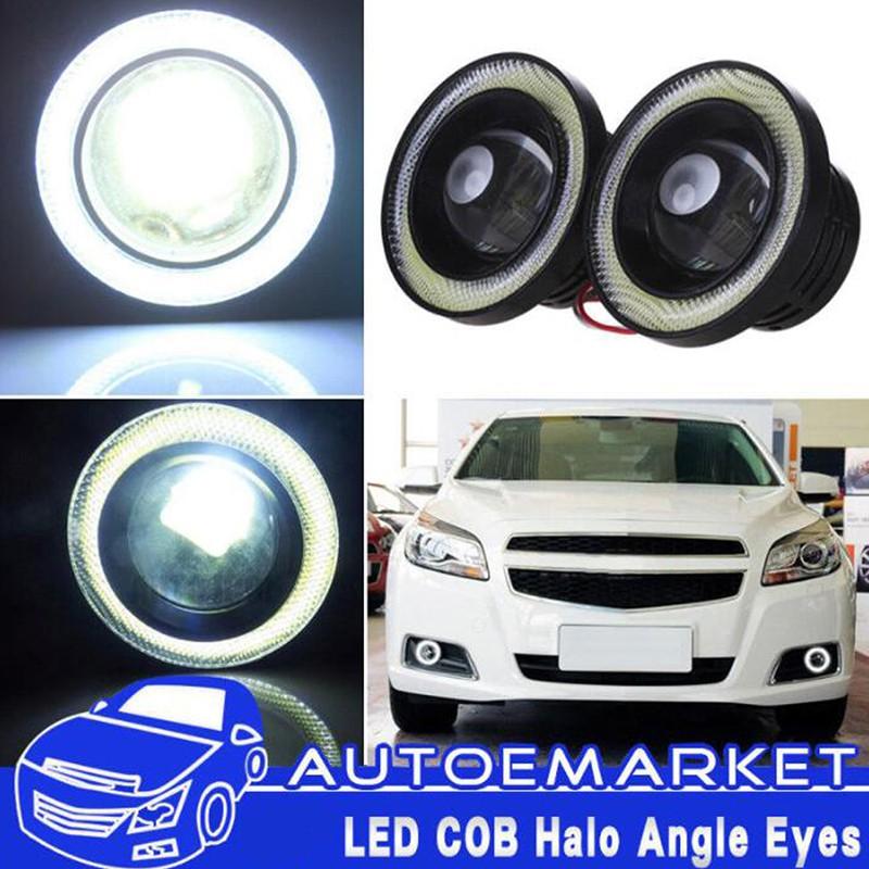 "2x 2.5//3.0//3.5/"" Car Angel Eye COB Ring LED DRL Projector Len Fog Driving LightXD"