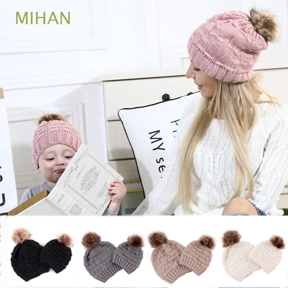 Mum Mom And Baby Child Matching Pair Knited Cotton Wooly Pon Ski Winter Hat New