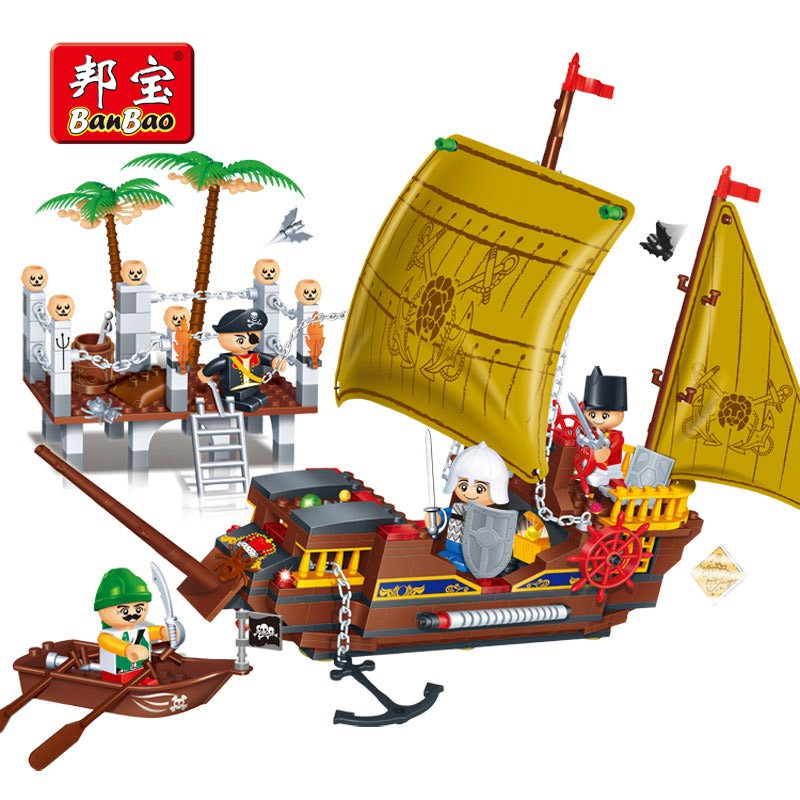 BanBao Pirate Ship Boat Building Blocks Bricks Lego Compatible Model Toys  8707