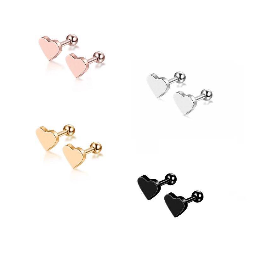 2pcs Piercing Jewelry Cartilage Helix Heart Shape Ear Studs Tragus Earrings Gift