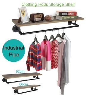 Pipe Clothes Towel Rack Wood Shelves Shelf Holder