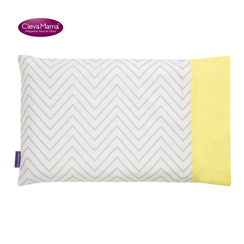 Clevamama Foam Pram Pillow with Cotton Case and Replacement Pram Pillow Case Elephant