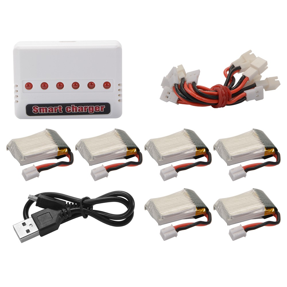 5pcs 3.7V 500mAh Lipo Battery and Charging Cable Set for UDI U818A-1 U817A RC182