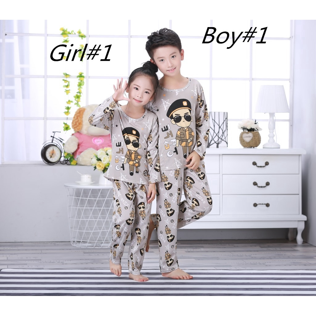 Children/'s Autumn Pajamas Long Sleeve Cotton Kids Sleepwear Soft Clothes 1Set
