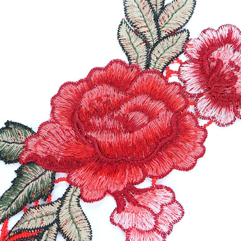 11cm BROWN ROSE FLOWER  Embroidered Sew Iron On Cloth Patch Badge APPLIQUE TRIM