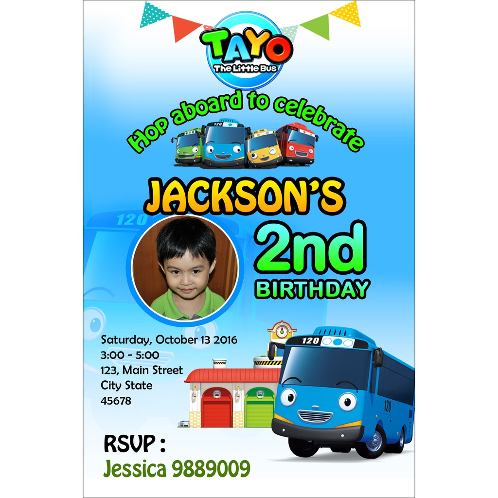 Personalized Customized Tayo The Little Bus Birthday Invitation Card
