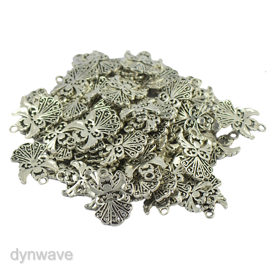 50x Tibetan Silver Filigree Heart Charms Pendant DIY Necklace Jewelry Making