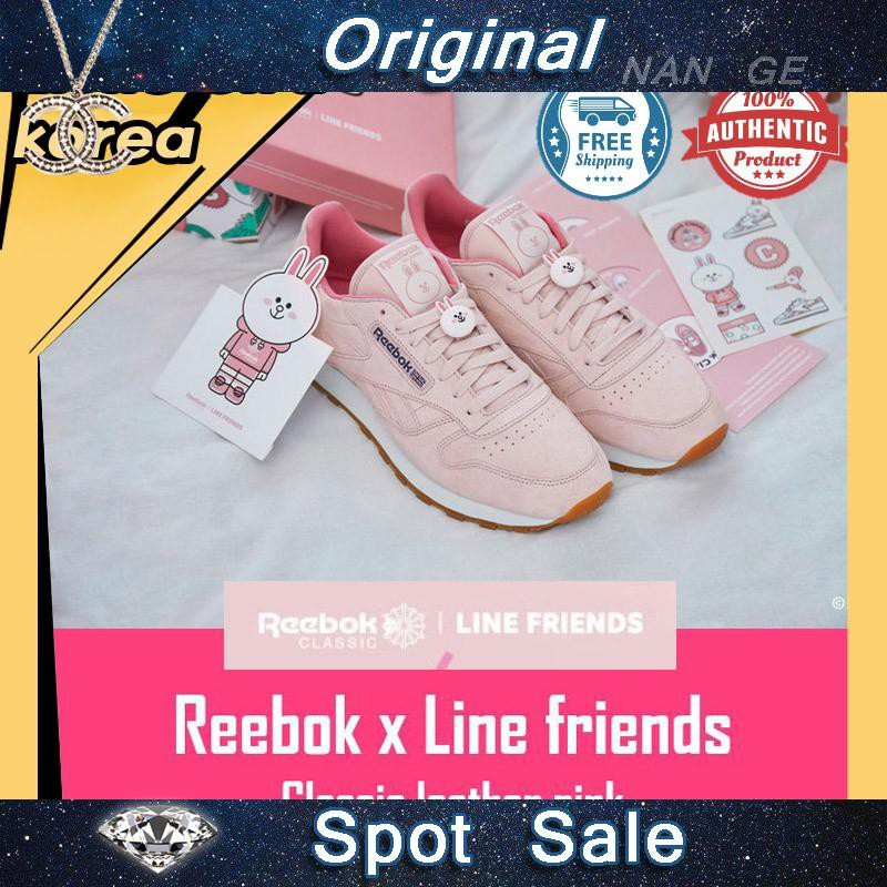 792b0992ea Clearance☆ Reebok x Line friends classic leather sneakers Pink ...