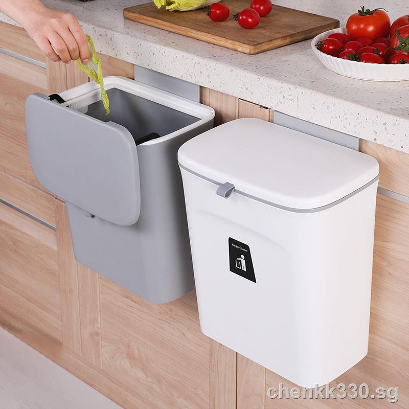 Wall Dustbintrashhanging Dustbin Household To Be Creative Hanging Bin With Cover Kitchen Garbage Receive Cylinder Cabinet Door Slide Trash Bin Shopee Singapore