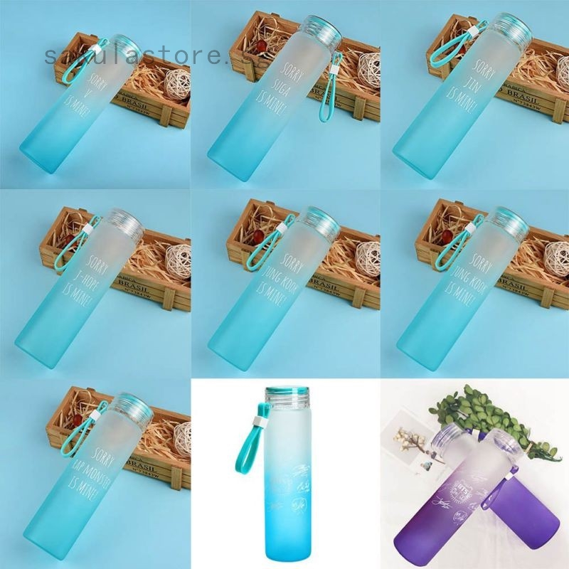 KPOP BTS Frosted Bottle Cup Bangtan Boys Gradient Color Portable Water Glass 1PC