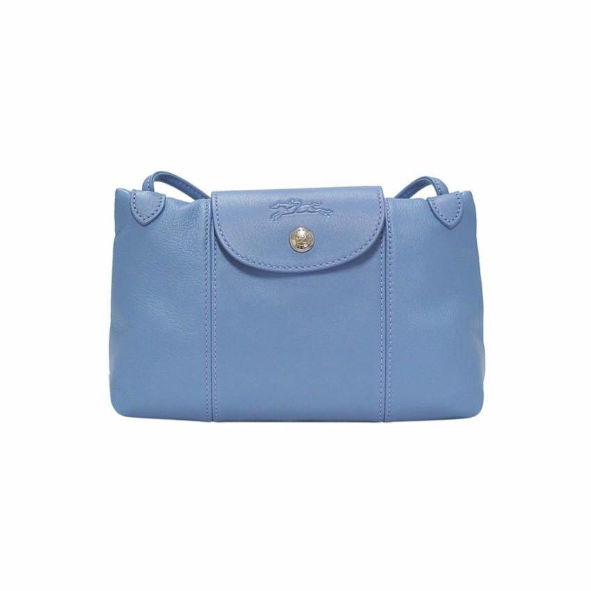 Blue Mist Le Pliage Cuir Crossbody Bag