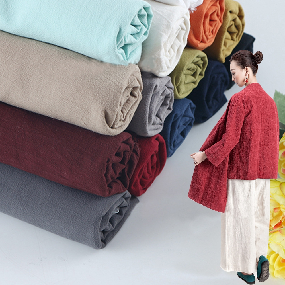 Cotton Linen Fabric Organic Material Natural Flax Craft DIY Dresses Clothes New
